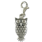 Sterling Silver clip on Owl Charm